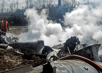 Site of the chopper crash in Budgam district of Jammu and Kashmir