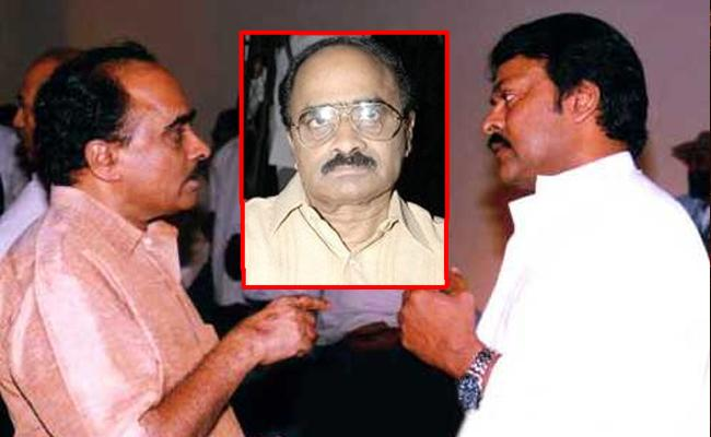 This image is a composition of Telugu director-producer Vijaya Bapineedu (L) in conversation with actor and politician Chiranjeevi.