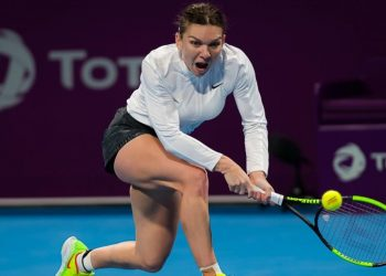 Simona Halep plays a backhand during her match against Elina Svitolina