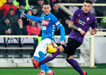 Action during the Napoli-Fiorentina Serie A game played Sunday