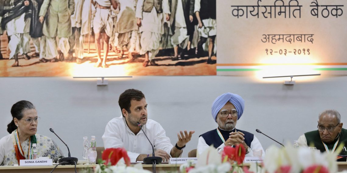 Ahmedabad: Congress President Rahul Gandhi, senior party leaders Sonia Gandhi and Manmohan Singh at the Congress Working Committee (CWC) meet, in Ahmedabad, Tuesday, March 12, 2019. (PTI Photo) (PTI3_12_2019_000158B)