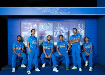 Team India donning the new threads. (Image courtesy: @BCCI)
