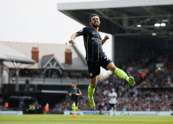 Bernardo Silva celebrates after scoring Manchester City's opening goal against Fulham