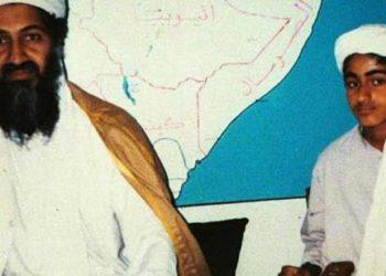 Osama bin Laden (L) and his son Hamza