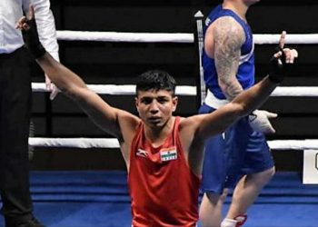 Dinesh Dagar (pictured) prevailed 3-2 in the bout and will square off against Russia's Sergei  Sobylinski in the semifinals.