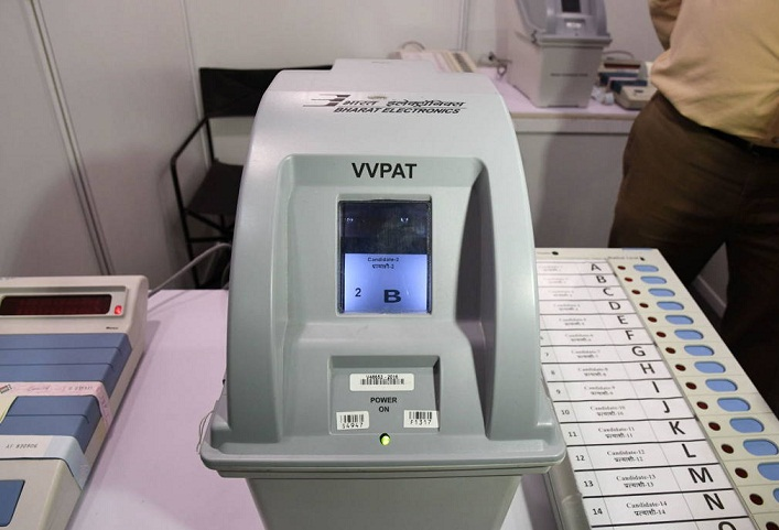 Voter verifiable paper audit trail (VVPAT) or verifiable paper record (VPR) machibe displaying the serial figure of the candidate in the list. In this case it is (B)
