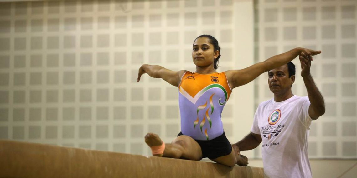 Dipa Karmakar during her training session with coach Bisweswar Nandi