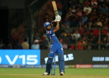 Hardik Pandya hits a six against Royal Challengers Bangalore at M Chinnaswamy Stadium in Bangalore