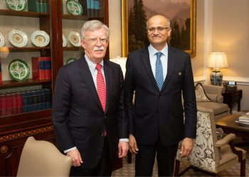 America's National Security Advisor John Bolton during a meeting with Foreign Secretary Vijay Gokhale, Wednesday. (Image: Twitter)