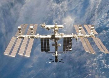 The ISS has been orbiting the Earth at roughly 28,000 kilometres per hour since 1998.