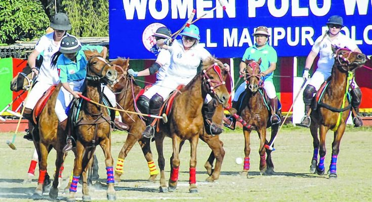 Manipuri women involved in a game of polo at Imphal