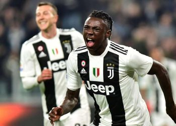 Moise Kean celebrates after scoring Juventus' opener against Udinese, Friday