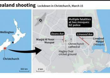 Map of Christchurch, New Zealand, showing Deans Ave and Linwood Ave where NZ police have reported 'multiple fatalities' at two mosques (AFP)