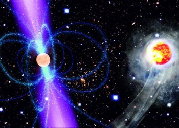 Pulsars are superdense, rapidly spinning neutron stars left behind when a massive star explodes.
