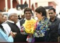 East UP Congress General Secretary Priyanka Gandhi Vadra with other party leaders. (PTI)