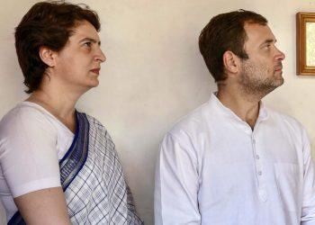 Priyanka Gandhi with Rahul Gandhi at Ahmedabad, Tuesday