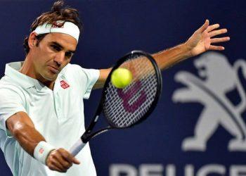 Roger Federer in action during the match against Denis Shapovalov