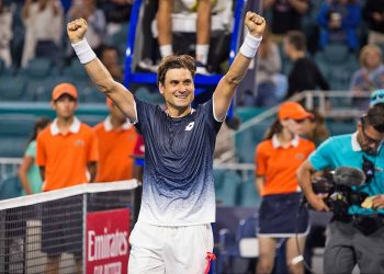 David Ferrer celebrates his win over Alexander Zverev in Miami, Saturday