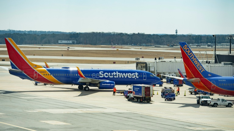 Boeing 737 Max 8 flown by Southwest Airlines taxis to the gate at Baltimore Washington International Airport near Baltimore, Maryland, March 13, 2019 (AFP)