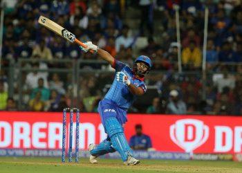 Rishabh Pant plays a shot during his innings against Mumbai Indians, Sunday