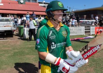 The opener plundered seven sixes and four fours in his 77-ball onslaught for Randwick-Petersham.