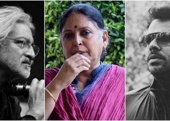 From left Anand Patwardhan, Bina Paul, and Aashiq Abu