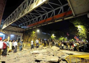 Five people died after a footover bridge collapsed in Mumbai's CSMT area on Thursday. (PTI photo)