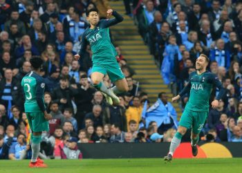 Son Heung-min (centre) scored three of Tottenham's four Champions League quarter-final goals against Manchester City (AFP / Lindsey PARNABY)