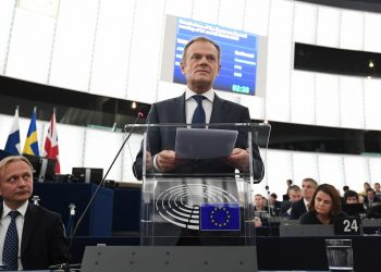 European Council President Donald Tusk speaks during a debate on the priorities of the European Council meeting of 21 and 22 March 2019 and UK's withdrawal from the EU during a plenary session at the European Parliament on March 27, 2019 in Strasbourg, eastern France. (Photo by FREDERICK FLORIN / AFP)