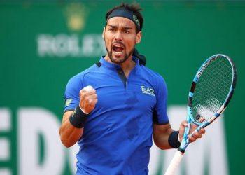 Fabio Fognini celebrates his win over Rafa Nadal, Saturday