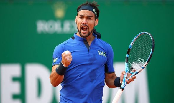 Fabio Fognini celebrates his win over Rafa Nadal, Saturday