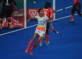 Vandana Katariya celebrates after scoring against Malaysia, Thursday