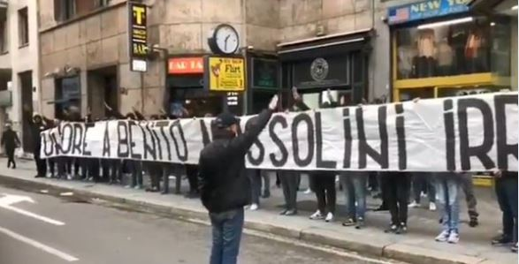 Hardcore Lazio fans displayed a banner reading 'Honour to Benito Mussolini' before the game, sang fascist songs and performed the Nazi salute.
