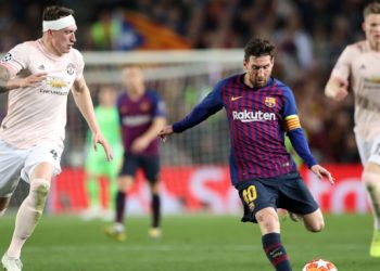 Lionel Messi (centre) was the star performer for Barcelona in their game against Manchester United, Tuesday
