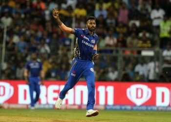 Hardik Pandya celebrates after dismissing a CSK batsman in Mumbai, Wednesday