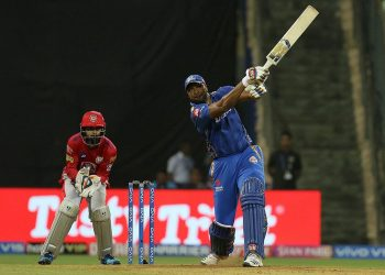 Kieron Pollard plays a shot during his knock against KXIP, Wednesday