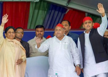 From (L) Mayawati, Mulayam Singh Yadav and Akhilesh Singh Yadav at an election rally, Friday