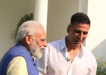 Prime Minister Narendra Modi with Akshay Kumar