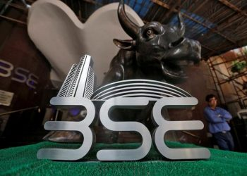 The Bombay Stock Exchange (BSE) logo is seen at the BSE building in Mumbai, India, January 25, 2017. (REUTERS)