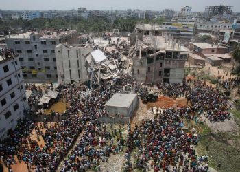 The Rana Plaza building's collapse killed over 1,100 people six years ago. (Reuters/Andrew Biraj)