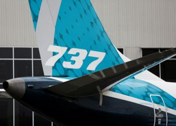 The first Boeing 737 MAX 7 is unveiled in Renton, Washington, U.S. February 5, 2018. (REUTERS/Jason Redmond)