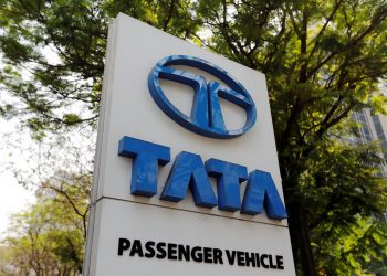 A Tata Motors logo is pictured outside the company showroom in Mumbai, India February 5, 2018. (REUTERS/Danish Siddiqui)