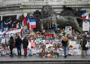 Floral tributes for the victims of the Paris terror attacks