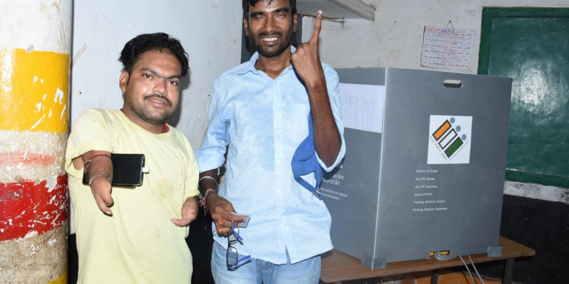 Differently-abled voters cast their franchisee at Unit VIII in Bhubaneswar