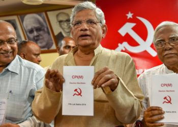 CPI(M) General Secretary Sitaram Yechury releases partys manifesto for 2019 Elections at a press conference (PTI photo)