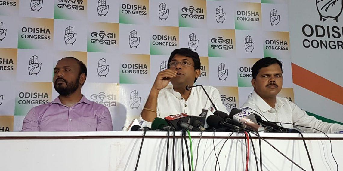 Congress spokesperson Satya Prakash Nayak speaking to the media in Bhubaneswar, Tuesday