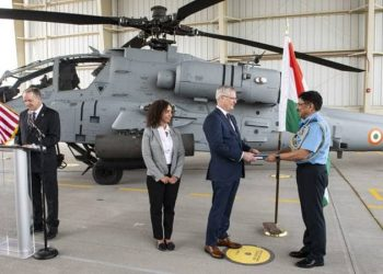 The helicopter was formally handed over to the IAF at the Boeing production facility in Mesa, Arizona, USA Friday.