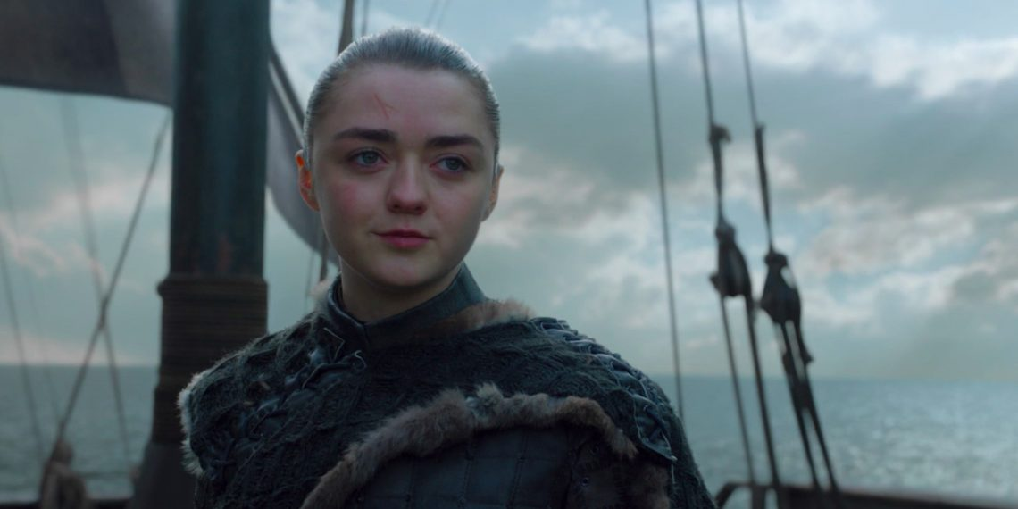 Arya Stark, played by Maisie Williams, at the end of the series finale.