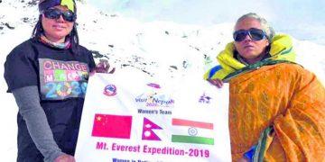 Kalpana Das (right) along with Kanchhi Maya Tamang at Everest base camp. Courtesy: Dreamers destination treks