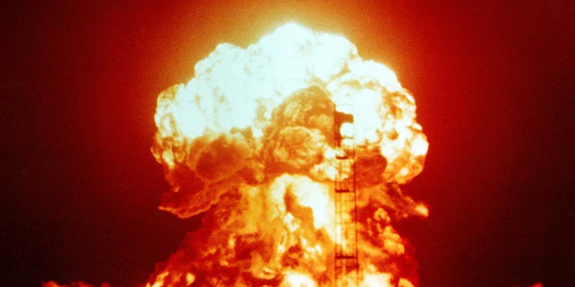 A nuclear explosion April 18, 1953, as part of Operation Upshot-Knothole nuclear test series, at the US's Nevada Test Site